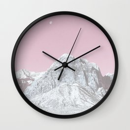 Mojave Pink Sky // Red Rock Canyon Las Vegas Desert Landscape Snowstorm Moon Mountains Wall Clock