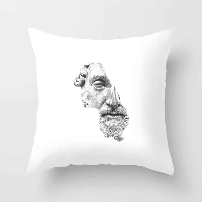 MARCUS AURELIUS ANTONINUS AUGUSTUS / black / white Throw Pillow