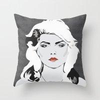 blondie Throw Pillows featuring blondie by Tara Durrant Designs