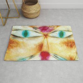 Classical Abstract Masterpiece 'Cat and Bird' by Paul Klee Rug