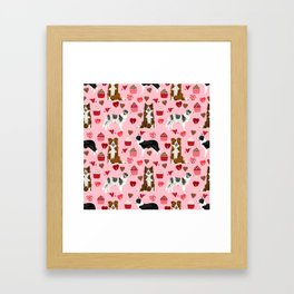 Border Collie valentines day cupcakes heart love dog breed collies gifts Framed Art Print
