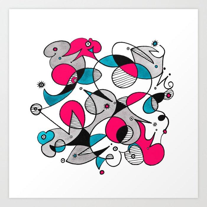 Abstract Birds Art Print