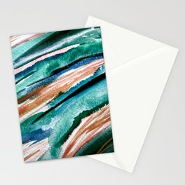 Here's to the Dreamers [2]: a minimal, watercolor abstract piece in pinks, green, blue, and white Stationery Cards