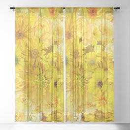 yellow rose bouquet with gerbera daisy flowers Sheer Curtain