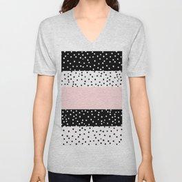 Modern black white blush pink polka dots Unisex V-Neck