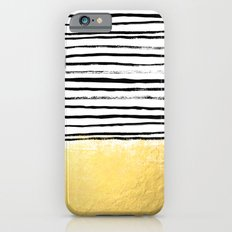 Blaire - Brushed Gold Stripes - black and gold, gold trend, gold phone case, gold cell case iPhone 6 Slim Case