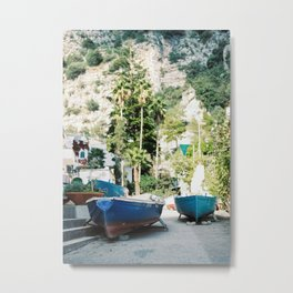 "Travel photography print ""Boats on the amalfi coast"" - made in italy. Sunny, colorful photo Metal Print"