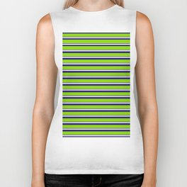 Green Stripes of Spring Biker Tank