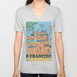 San Francisco Fine Art Print Retro Vintage Favorite Map with Touristic Highlights Active Unisex V-Neck