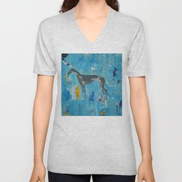 Greyhound Dog Abstract Painting Unisex V-Neck