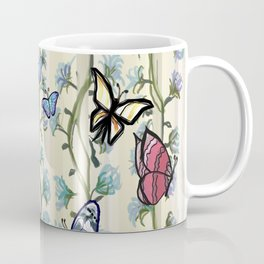 Butterflies on a Flowering Climbing Vine on a Striped Background Coffee Mug