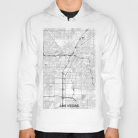 las vegas Hoodies featuring Las Vegas Map Gray by City Art Posters