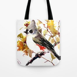 Titmouse on Fall Tree Tote Bag