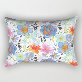 Mixed Media Flowers with Black Accent Flowers Rectangular Pillow