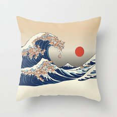 The Great Wave of Chihuahua Throw Pillow