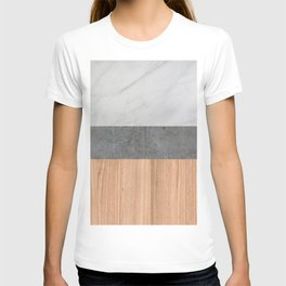 Carrara Marble, Concrete, and Teak Wood Abstract T-shirt
