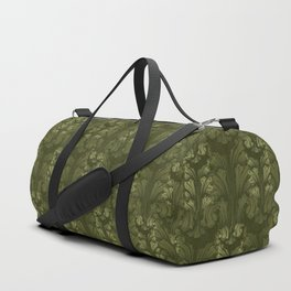 Olive Green Classic Acanthus Leaves Pattern Duffle Bag