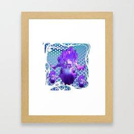 MODERN ART SPRING PURPLE IRIS BLUE ABSTRACT Framed Art Print