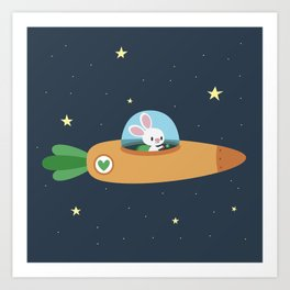 Space bunny and its carrot rocket Art Print