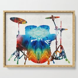 Drum Set Art - Color Fusion Drums - By Sharon Cummings Serving Tray