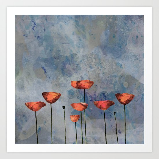 Poppyfield against the blue sky- abstract watercolor artwork Art Print