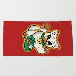 Lucky Sushi Cat Beach Towel