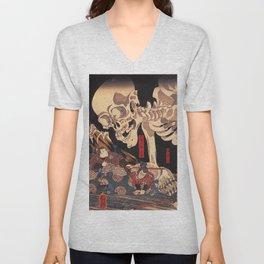 Takiyasha the Witch and the Skeleton Spectre, by Utagawa Kuniyoshi Unisex V-Neck