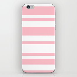 Mixed Horizontal Stripes - White and Pink iPhone Skin