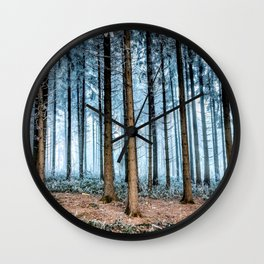 Snow Covered Forest Wall Clock