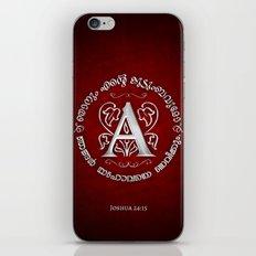 Joshua 24:15 - (Silver on Red) Monogram A iPhone & iPod Skin