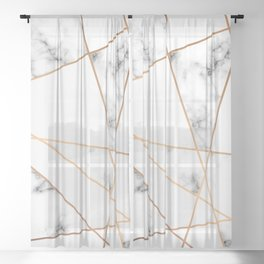 Marble Geometry 054 Sheer Curtain