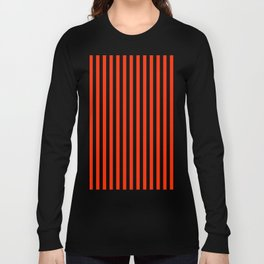 Bright Red and Black Vertical Stripes Long Sleeve T-shirt