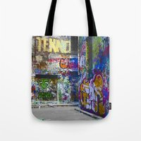 melbourne Tote Bags featuring Melbourne Graffiti by Another Alex