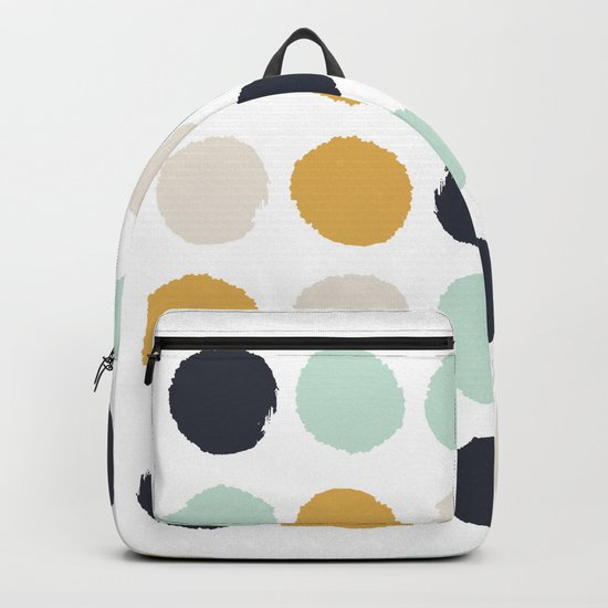 Tinsley - painted dots polka dots minimalist decor nursery gold navy Backpack