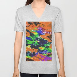 psychedelic splash painting abstract texture in brown green blue yellow pink Unisex V-Neck