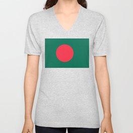 Flag of Bangladesh, Authentic color & scale Unisex V-Neck