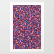 Lady Bug Flowers Art Print
