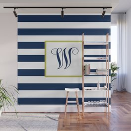 Monogram Letter W in Navy Blue and Stripes Wall Mural