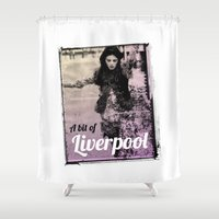 liverpool Shower Curtains featuring LIVERPOOL by TOO MANY GRAPHIX
