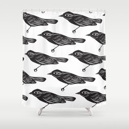 Paper Bird Cutout Shower Curtain