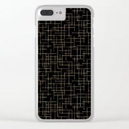 Luxe Gold Criss Cross Weave Hand Drawn Vector Pattern Clear iPhone Case