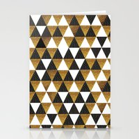 black and gold Stationery Cards featuring Black/Gold by T.Fischer