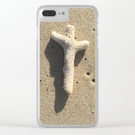 Coral Cross in the Sand Clear iPhone Case