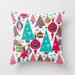 Deck The Halls - White Pink Throw Pillow