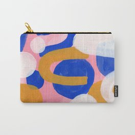 Ejaaz Haniff Colorful Abstract Acrylic Painting Pastel Fun Pastel Colors 'Pink Promenade' Carry-All Pouch