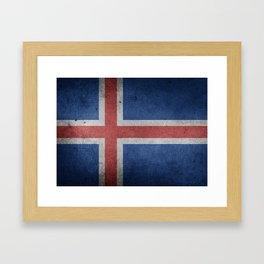 Vintage Grunge flag of Iceland Framed Art Print