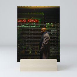 Man Waiting in front of Shop at Night , A Mini Art Print