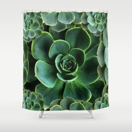 JADE GREEN SUCCULENT ROSETTES DESIGN Shower Curtain