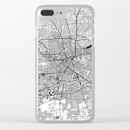 Houston White Map Clear iPhone Case
