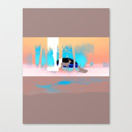 Sunset in forest Canvas Print